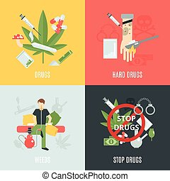 Drugs Flat Set - Drugs design concept set with weeds and...