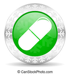 drugs green icon, christmas button, medical sign