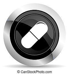drugs icon, black chrome button, medical sign