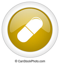 drugs icon, golden round glossy button, web and mobile app design illustration