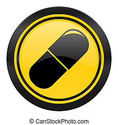 drugs icon, yellow logo, medical sign