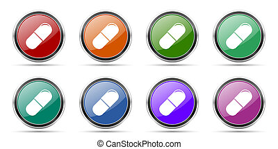 Drugs icons, set of round glossy web buttons with silver metallic chrome borders isolated on white background in 8 options