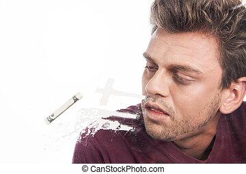 drugs, jonge, propageren, man, gestenigde, cocaïne, tafel., mooi