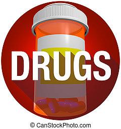 Drugs Medicine Bottle Word Long Shadow Round Button