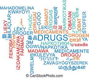 drugs, multilanguage, wordcloud, achtergrond, concept