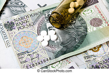 Drugs on a money background.