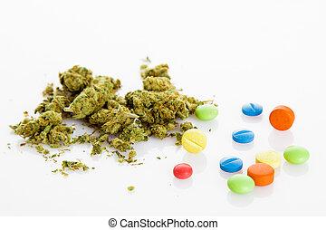 drugs, onwettig, drugs., verdovend