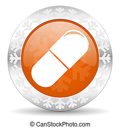 drugs orange icon, christmas button, medical sign
