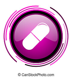 Drugs pink glossy web icon isolated on white background