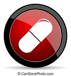drugs red circle glossy web icon on white background - set440