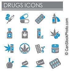 Drugs related icons set on background for graphic and web design. Creative illustration concept symbol for web or mobile app.