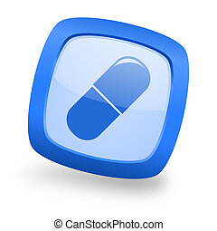 drugs square glossy blue web design icon
