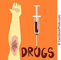 Drugs, struggle with unhealthy addiction social proplem concept poster banner template vector Illustration