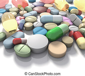 Spilled pills of drug or alimentary supplement. Concept of Health and Disease.