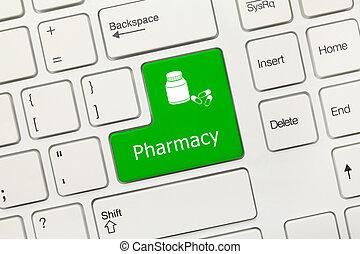 drugs, symbol), -, apotheek, klee, toetsenbord, conceptueel, witte , (green