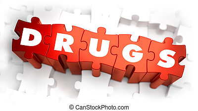 Drugs - Text on Red Puzzles. - Drugs - Text on Red Puzzles...