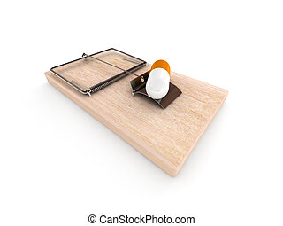 Drugs trap. Mousetrap with pill isolated on white background...