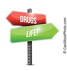 drugs versus life road sign illustration design