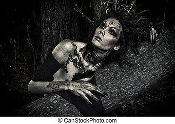 druid hero - Man-tree in a wild wood. Art project. Fantasy....