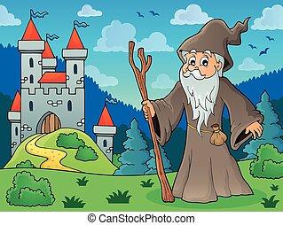 druid, ligado, prado, perto, castelo