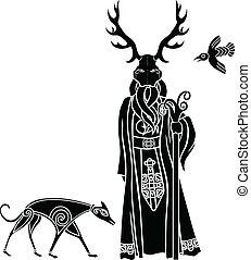 druid, met, ritueel, masker