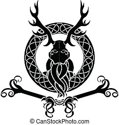 Druid symbol with antlers in Celtic circle
