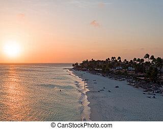 Druif beach on Aruba island in the Caribbean at sunset