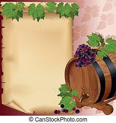 druif, vat, papier, achtergrond, wijntje