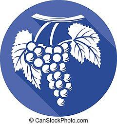 druiven, op, de, tak, plat, pictogram