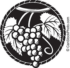 druiven, symbool, (grapes, ontwerp, druif