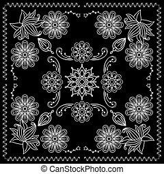 druk, bandana, elementy, czarnoskóry, biały