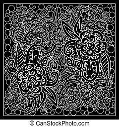 druk, czarnoskóry, abstrakcyjny, bandana, biały