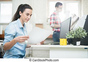 druk, dama, biuro, projektant