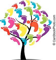 druk, drzewo, wektor, łapa, stopa