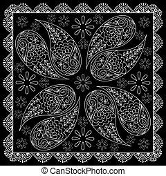 druk, henna, czarnoskóry, abstrakcyjny, bandana, biały, element, style.
