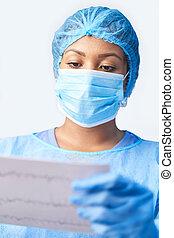 druk, maska, poza, dzierżawa, samica, chodząc, chirurg, ...