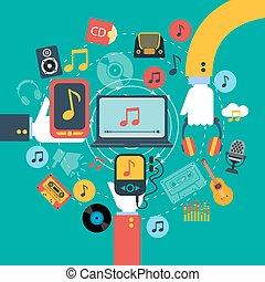 druk, muzyka, pojęcie, apps, afisz