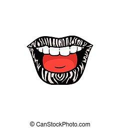 druk, odizolowany, barwny, szminka, uśmiech, samica, zebra, -, rzeźnik