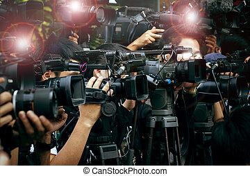 drukken, en, media, fototoestel, fotograaf, op, plicht, in,...