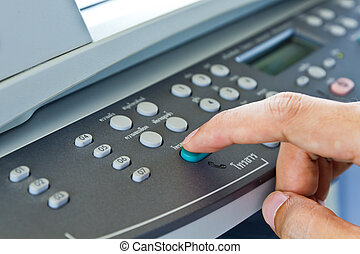 drukken, fax, knoop, hand