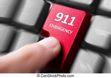 drukken, knoop, toetsenbord, 911, hand