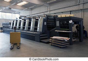 drukken, machine, bezig met afdrukken van, -, compensatie
