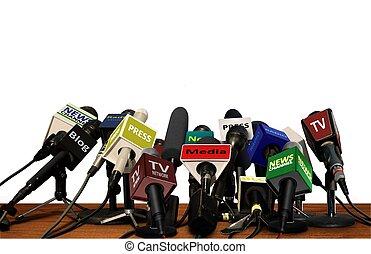 drukken, media, conferentie, microfoons