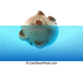 drukne, ind, gæld, repræsenteret, af, en, piggy bank, synke, ind, blå vand