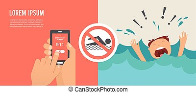 drukne, mand, skrig, by, help., hænder, presse, nødsituation, antal, 911, på, en, bevægelig telefoner.