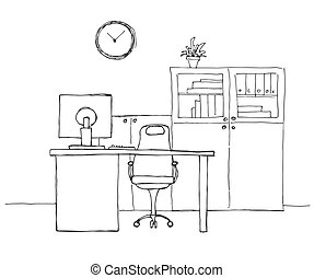 Drukowanie Office in a sketch style. Hand drawn office furniture. Vector illustration.
