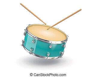 Drum and drumsticks. 3d - Drum and drumsticks on white...
