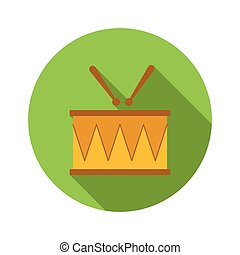 Drum and drumsticks flat icon