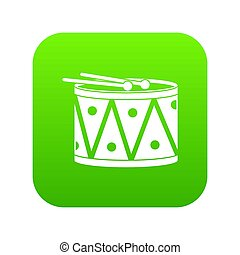 Drum and drumsticks icon digital green