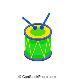 Drum and drumsticks icon in isometric 3d style